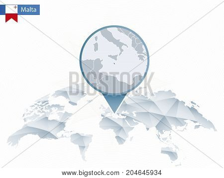 Abstract Rounded World Map With Pinned Detailed Malta Map.