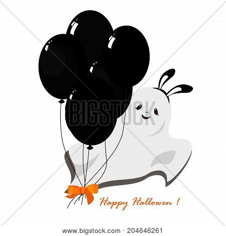 Vector flat illustration with black balloons. Halloween party.