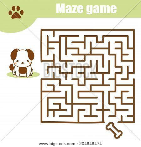 Maze children game: help the dog go through the labyrinth. Kids activity sheet