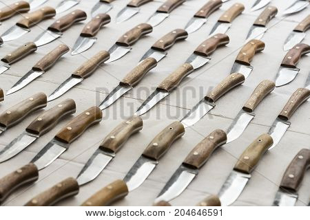 Background of set of sharp hunting knives