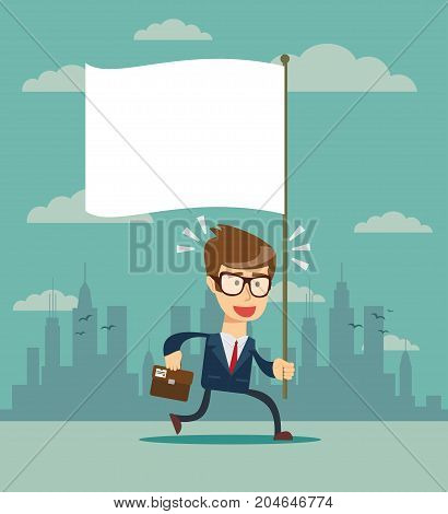 Running man with flag, vector isolated illustration.