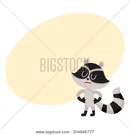 Cute displeased, sad raccoon character showing negative emotion, cartoon vector illustration with space for text. Sad, displeased little raccoon standing with closed eyes and pursed mouth
