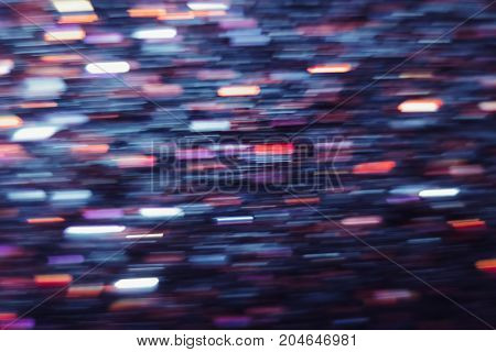 Abstract background of defocused light motion blur. Glowing urban backdrop, heavy night traffic city glimmers, bokeh, sparkle shiny purple and red lines wallpaper