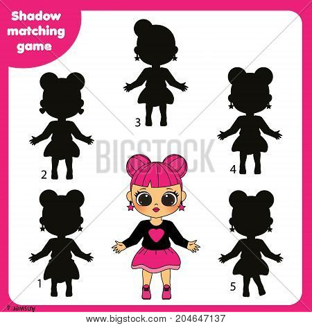 Shadow matching game for children. Find the right shadow. Activity for preschool kids with beautiful fashionable girl