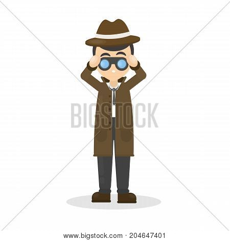 Isolated detective with binocular on white background.