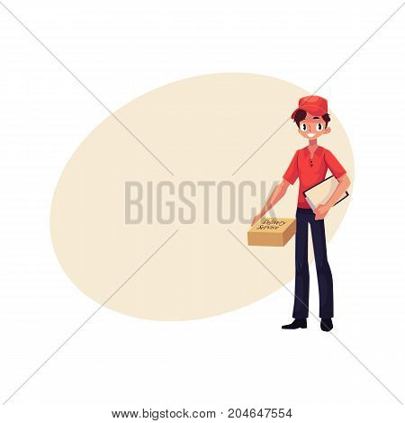 Young courier, delivery service worker standing with clipboard and parcel box, cartoon vector illustration with space for text. Full length portrait of young delivery service man