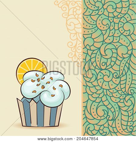 Sweet cupcake look like cloud with orange slice sun. Card with doodle boho pattern. Ideal for posters, advertisements, announcements, labels, banner, menu for cafe and restaurants. Vector illustration