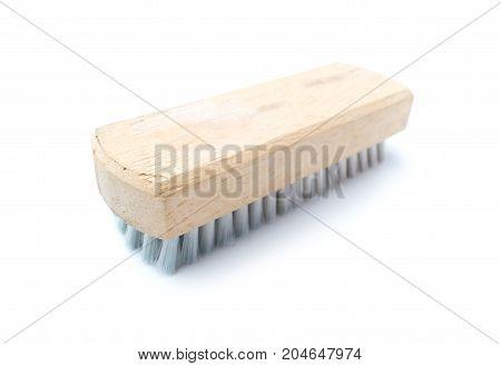 Old shoe brush isolated on white background