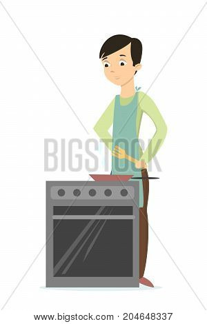 Man cooking with oven on white background.