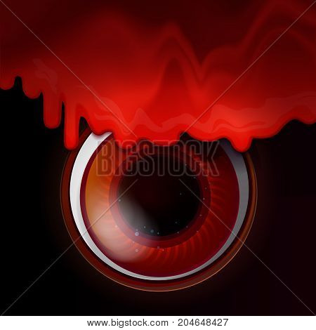 Melted Bloody color sirup from top. Big Red eye on dark background. Vector illustrtaion for Halloween holidays design. Evil see concept