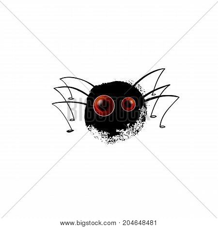 Funny spider. Cartoon blot with legs for you design. Vector illustration. Realistic eyes on black silhouette. Character concept sully white background.