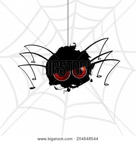 Funny spider Funny spider cartoon hanging on a string with cobwebs. Cartoon blot with legs. Vector illustration. Realistic eyes on black silhouette. Character concept sully white background.