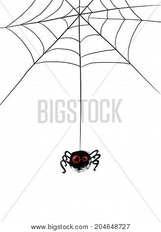 Funny spider cartoon hanging on a string with cobwebs. Vector illustration. Realistic eyes on black silhouette. Character concept.