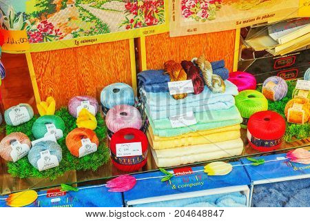 Rome, Italy - May 09, 2017 : Shop Of Bright Colored Threads, Towels And Souvenirs In Rome, Italy.