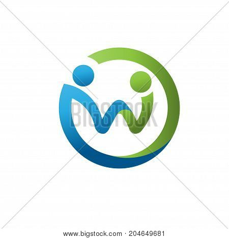 creative letter w as abstract people social figure,circle letter w as two people figure, social, care, family logo concept