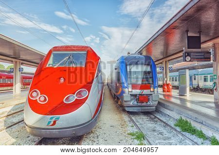 Venice, Italy - May 13, 2017 : Modern High-speed Passenger Train Stand On Main Railways Station Veni