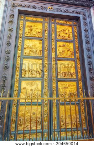 East Doors, Or Gates Of Paradise, By Lorenzo Ghiberti (porta Del Paradiso) On  Baptistery Of San Gio
