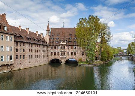 Hospital of the Holy Spirit on Pegnitz river Nuremberg Germany