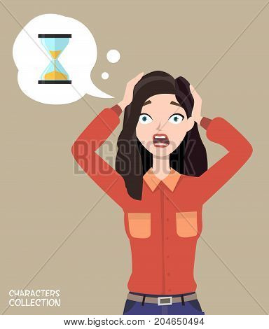 Vector icon of a color hourglass in trendy flat style and shocked woman