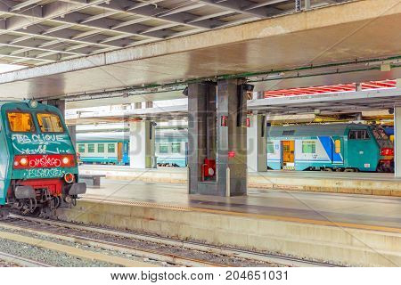 Venice, Italy - May 11, 2017 : Passenger Train Arival And  Stand On  The Railways Station.