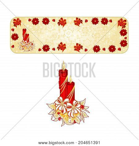 Banner Christmas decoration snowflakes with a candlestick red bow and poinsettia vintage vector illustration editable hand draw