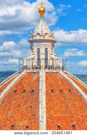 Florence, Italy - May 13, 2017 : Above View Dome  Santa Maria Del Fiore (cattedrale Di Santa Maria D