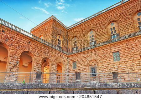 Palace Of Pitti (palazzo Pitti) In Florence - City Of The Renaissance On Arno River. Italy.