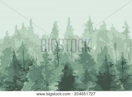 Stylized painting of coniferous forest. Seamless banner.