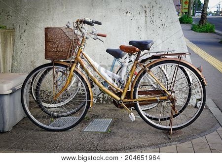 Bicycle Parking Outdoor In Akita, Japan