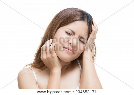 headache asian woman or sick woman isolated on white