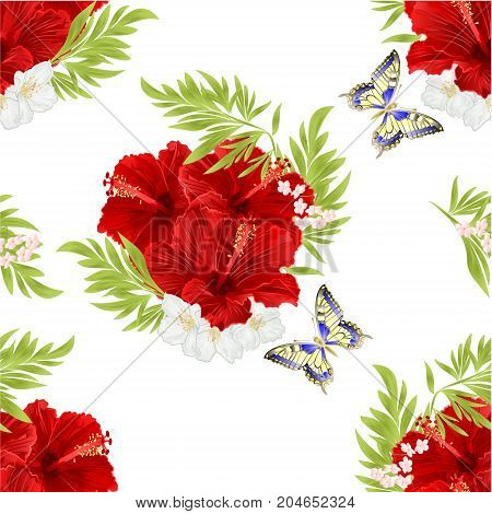 Seamless texture red hibiscus tropical flowers with jasmine flowers and butterfly vintage vector editable illustration hand drawn