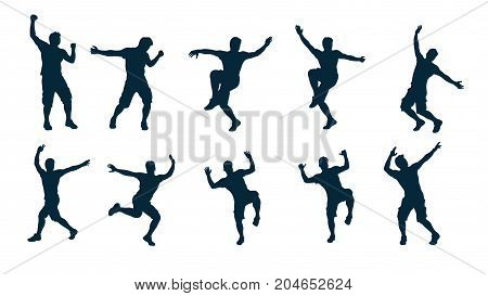 illustration of man silhouette dance in various moves in set isolated on white background