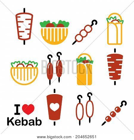 Doner kebab vector icons, kebab in wrap or pita bread, shish and adana kebab skewers design set