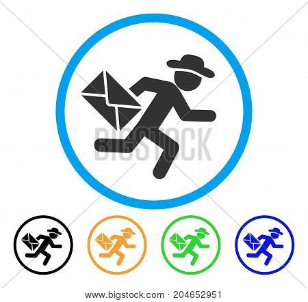 Gentleman Mail Courier icon. Vector illustration style is a flat iconic gentleman mail courier gray rounded symbol inside light blue circle with black, green, blue, yellow color variants.
