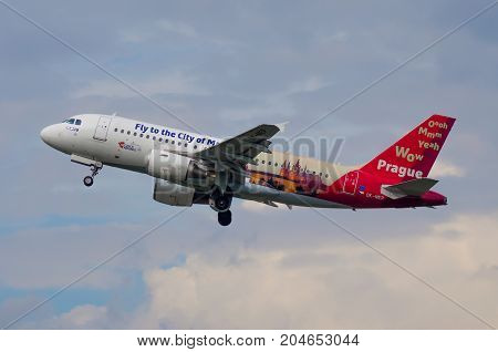 Airbus A319 Czech Airlines. Airport Pulkovo, Russia Saint-petersburg August 10, 2017