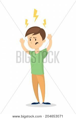 Isolated man with migraine on white background.