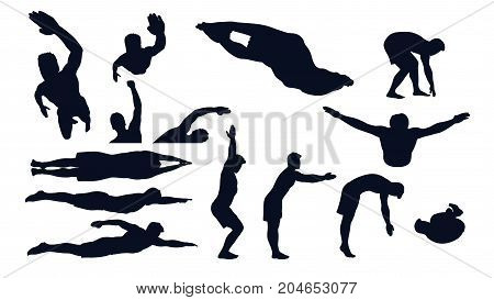 illustration of swimming male silhouette set in different poses isolated on white background