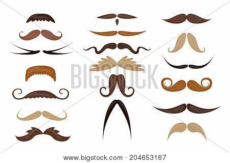 Different colorful mustache set on white background.