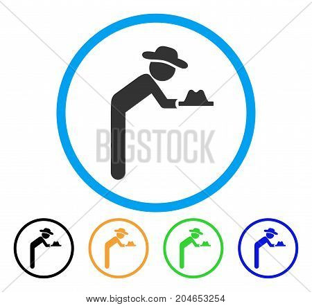 Gentleman Servant icon. Vector illustration style is a flat iconic gentleman servant gray rounded symbol inside light blue circle with black, green, blue, yellow color versions.