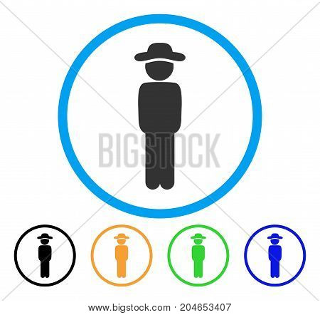 Gentleman Standing icon. Vector illustration style is a flat iconic gentleman standing gray rounded symbol inside light blue circle with black, green, blue, yellow color versions.