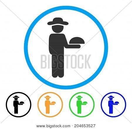 Gentleman Waiter icon. Vector illustration style is a flat iconic gentleman waiter grey rounded symbol inside light blue circle with black, green, blue, yellow color versions.