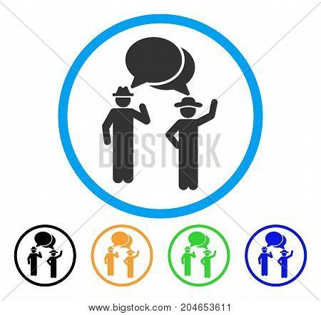 Gentlemen Chat icon. Vector illustration style is a flat iconic gentlemen chat gray rounded symbol inside light blue circle with black, green, blue, yellow color variants.
