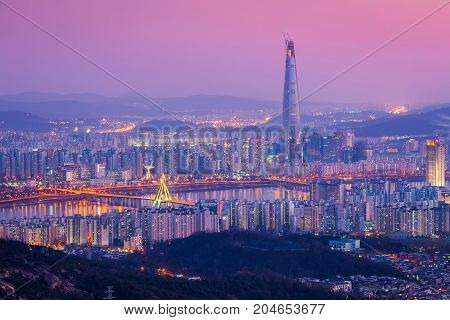 Seoul City And Downtown Skyline And Skyscraper At Night, The Best View Of South Korea With Lotte Wor