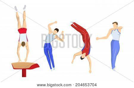 Vault in gymnastics. Athletes in uniform jumping.