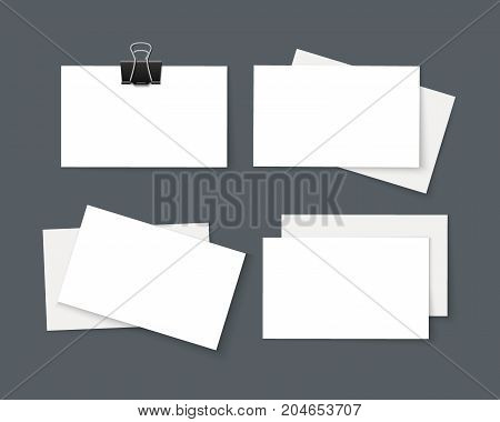 Stack of Business card template mock up with shadow isolated on dark. Business identity, web banner