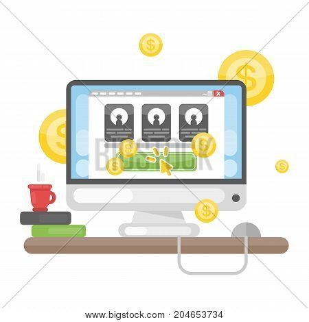 Pay per click advertising concept illustration on white.