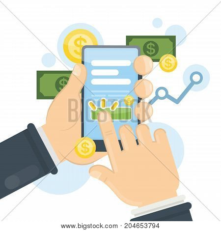 Pay per click advertising concept illustration on smartphone.