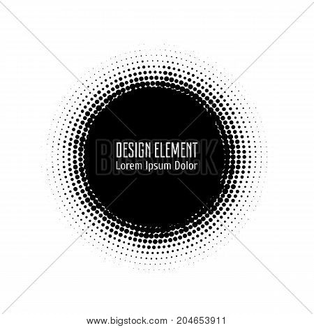 Vector abstract halftone circle black frame.  Abstract dotted gradient logo design elements. Grunge halftone textured pattern with dots. Pop art dotted circle template isolated on white