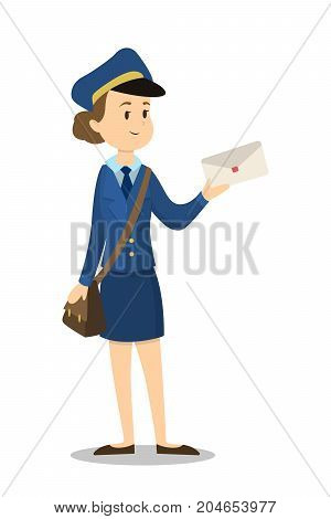 Isolated postwoman with envelope on white background