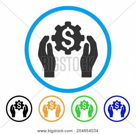 Banking Maintenance Hands icon. Vector illustration style is a flat iconic banking maintenance hands gray rounded symbol inside light blue circle with black, green, blue, yellow color variants.